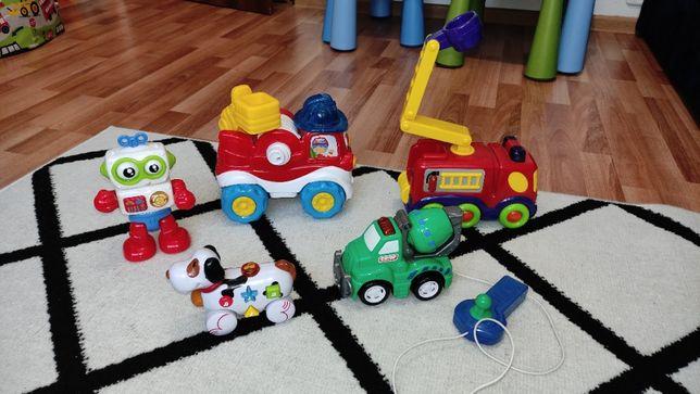 Wóz strażacki, betoniarka, robot na baterię grające, edukacyje