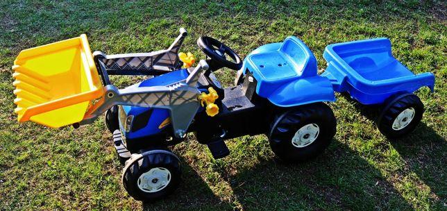 Traktor na pedały New Holland z łyżką i przyczepą Rolly Toys