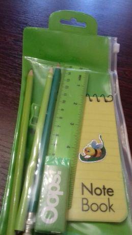 Набор для школьников: органайзер-сумочка,карандаши,блокнот,резинка,точ