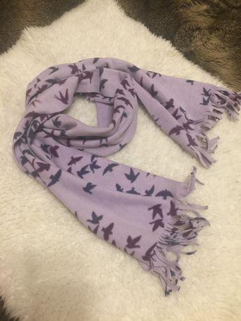 Нежный и тёплый флисовый шарф с птицами