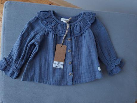Nowa koszula newbie kappahl falbanki 68 niebieska szara