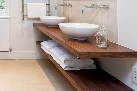 Blat łazienkowy lite drewno 120 cm