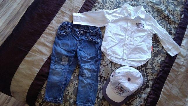 Zestaw spodnie jeans H&M biała koszula Coccodrillo cena za całość 19zł