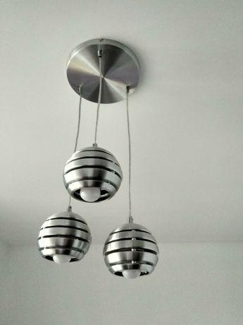 Lampa wisząca srebrna nowoczesna kulki