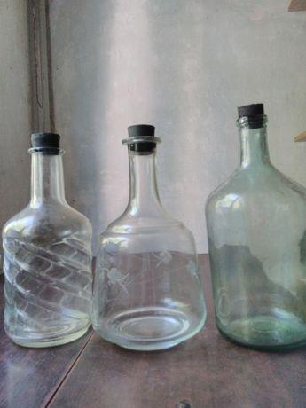 Бутыль стеклянная для вина, графин, бутылка СССР