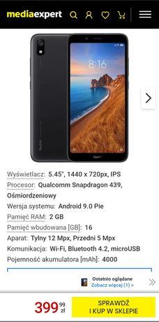 Xiaomi redmi 7a, używany, na gwarancji, bardzo dobry stan