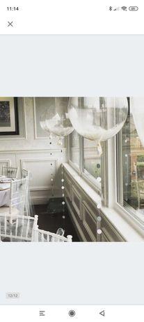 10 Przeźroczystych balonów z piórkami. 45cm/ ślub,wesele, chrzest