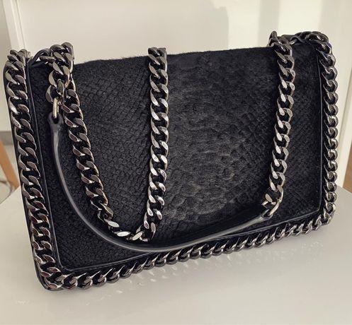 Torebka Zara czarna skóra weża łancuszek oryginalna chain bag