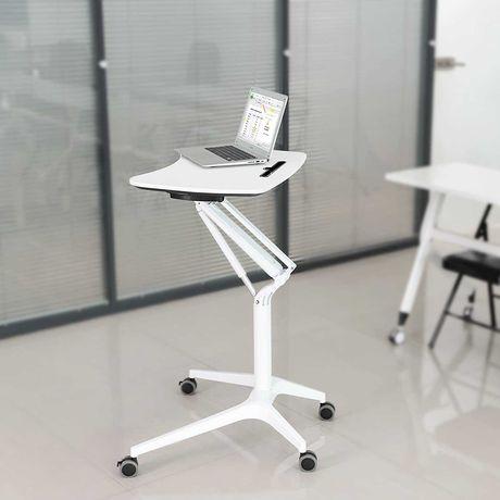 Mesa secretária ajustável em altura para PC portátil com rodízios