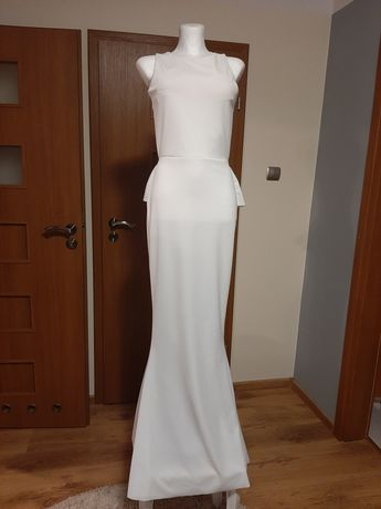 Śliczna sukienka ślubna syrenka falbany efekt WOW nowa Okazja HIT!