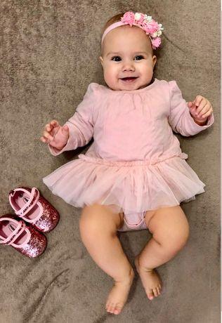 Детское нарядное боди платье розовое 12-18 мес