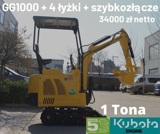 Minikoparka + osprzęt 1 ton silnik KUBOTA - GG1000 Gunter Grossmann