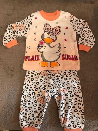 Пижама новая для девочки, размеры 68-80 (6-12 месяцев), хлопок, Турция