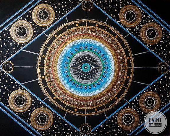 Wielka Mandala Astrologiczna, 100x80cm, obraz ręcznie malowany, unikat