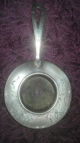 Antyk,Carska Rosja, srebro 84,cudne sitko do herbaty z rączką