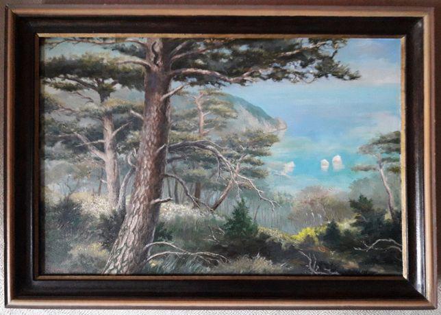 "Картина пейзаж холст масло 47х66 см ""Над Гурзуфом"" 1996 г."