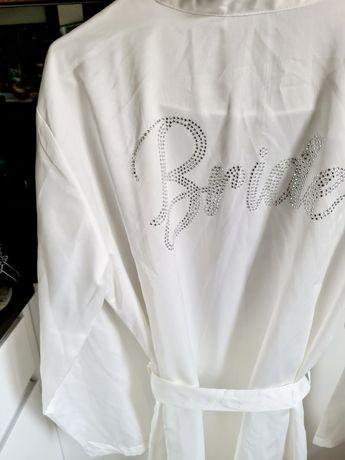 George biały szlafrok z paskiem Bride panna młoda ślubny ślub napis L