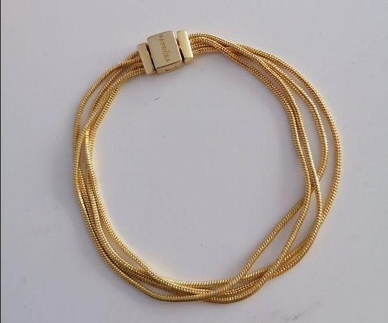 Bransoletka Pandora 18cm sznurki gold próba S925 ALE