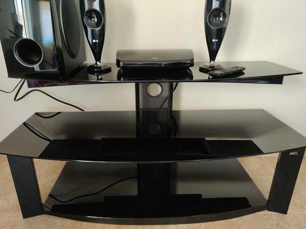Móvel TV preto vidro temperado