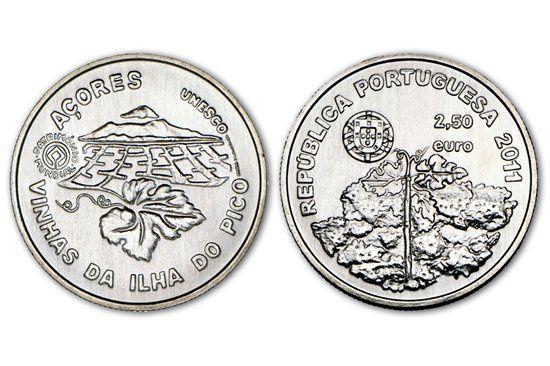 Moeda comemorativa de 2,5€ Paisagem ilha do Pico
