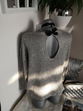 sweterek szary cekiny błyszczący 38 40 srebrny