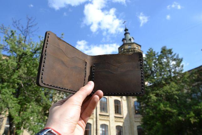 Кожаный кошелек ручной работы, гравировка имени, натуральная кожа