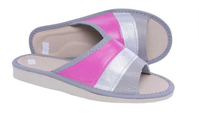 Kapcie damskie pantofle domowe skórzane PRODUCENT roz. 36