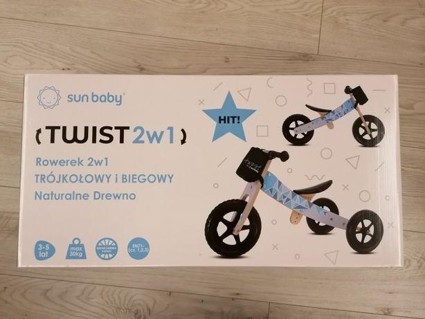 Rowerek SUN BABY NOWY!!! drewniany 2w1 trójkołowy, biegowy niebieski