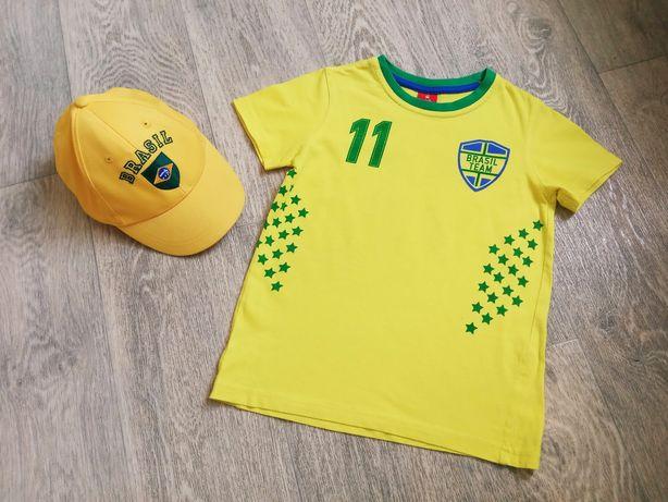 Brasil бейсболка myc р.52 + футболка kiki&koko р.116 футбольная форма