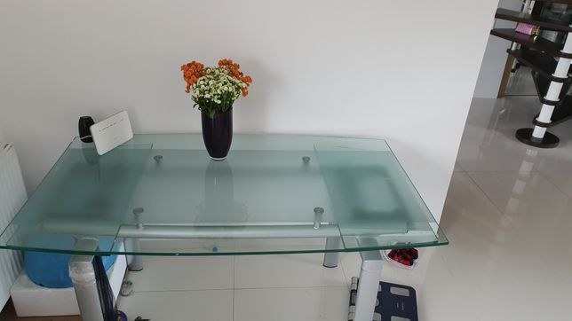 Stół szklany 90x160-220cm wys 75cm rozkladany