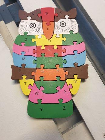 Mądra SOWA drewniane puzle