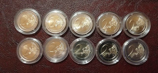 Продано. 2 евро Памятные (Юбилейные) монеты 10шт.