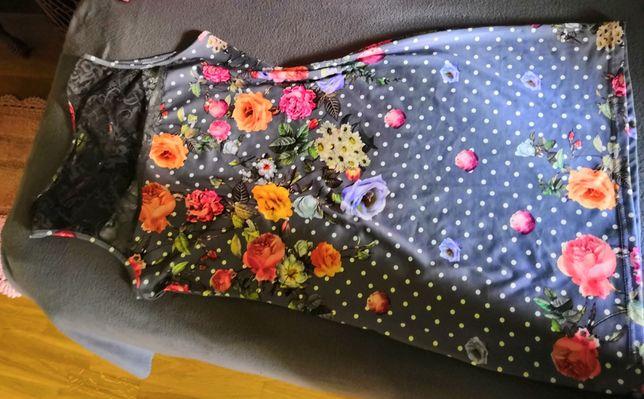 Sprzedam sukienka w kwiaty z koronką na ramionach
