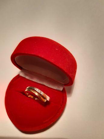 Pierścionek zaręczynowy z brylantem złoty białe i żołte złoto rozm.15