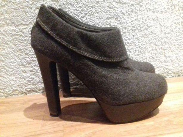 Szare krótkie botki 13 cm, buty na obcasie, na jesień