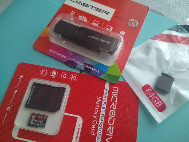 USB 2.0 флэшки, карты памяти микро СД 64gb