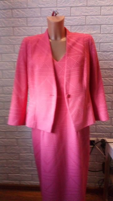 Sukienka różowa dopasowana żakiet