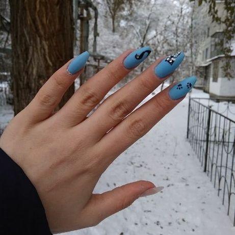 покрытие ногтей гель лаком! Наращивание ногтей