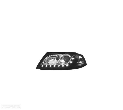 FARÓIS COM LUZ DIURNA LED / VW PASSAT 3GB B5 / 00-05 FUNDO PRETO