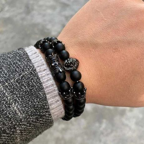 Мужские браслеты из натуральных камней, каменные браслеты (комплект)