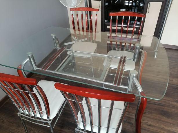 Szklany stół + krzesła