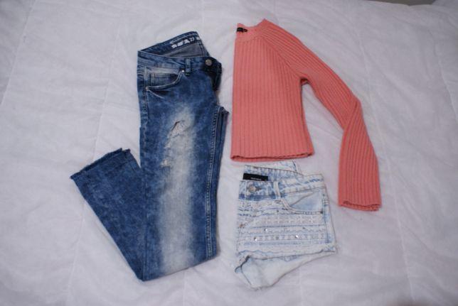 Zestaw Paka Spodnie Jeansy Koszula w krate Sweter Spodenki Szorty XS