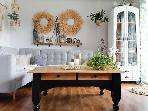 Ława kawowa, stół, retro, loft, drewniana sosna, Boho, vintage