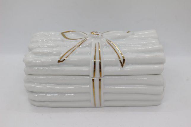 Caixa de Espargos Branca e Ouro com Laço Vista Alegre 1980