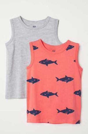 майки оранжевая серая акулы топы HM George 5-6 лет