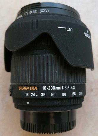 Lente Sigma 18-200mm DC AF f3.5-f6.3 p/ Nikon, com tampas e Skylight