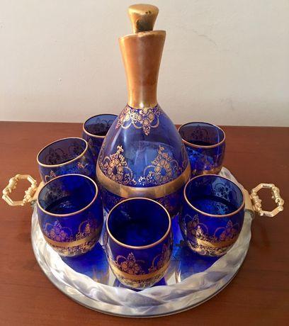 Conjunto de Jarra,tabuleiro e copos de Licor(Cristal Murano)Novo