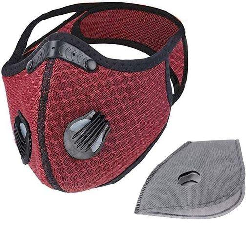 Maska sportowa antysmogowa czerwona + filtry