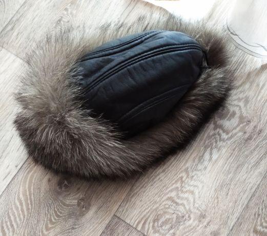 Шапка женская кожа натуральный мех