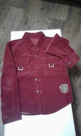 Рубашка микровельвет цвет тёмно-бордовый J.H.FASHION для мальчика